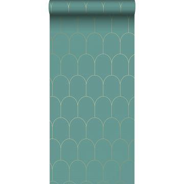 wallpaper art deco motif sea green and gold from ESTA home