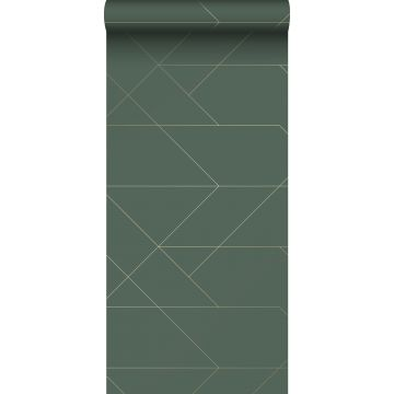 wallpaper graphic lines dark green and gold from ESTA home