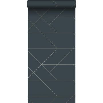 wallpaper graphic lines dark blue and gold from ESTA home