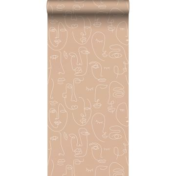 wallpaper faces peach pink and white from ESTA home