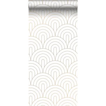 wallpaper art deco motif white and gold from ESTA home