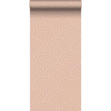 wallpaper art deco motif peach pink from ESTA home