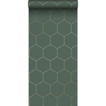 wallpaper hexagon dark green and gold from ESTA home