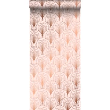 wallpaper art deco motif soft pink and rose gold from ESTA home