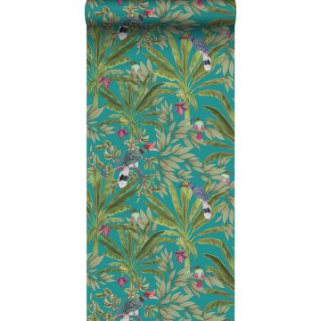 wallpaper tropical jungle leaves and birds of paradise teal and jungle green from ESTA home