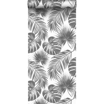 wallpaper tropical leaves black and white from ESTA home