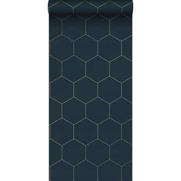 wallpaper hexagon dark blue and gold from ESTA home