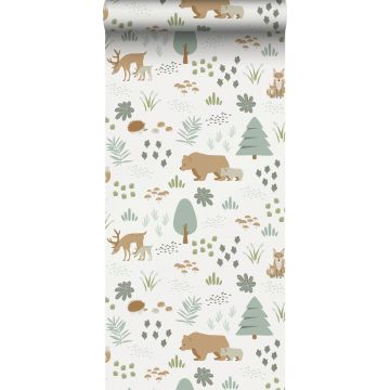 wallpaper forest with forest animals white, green and beige from ESTA home