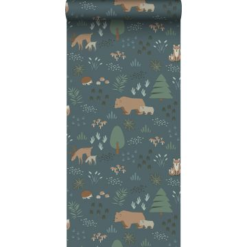 wallpaper forest with forest animals grayed vintage blue, green and beige from ESTA home