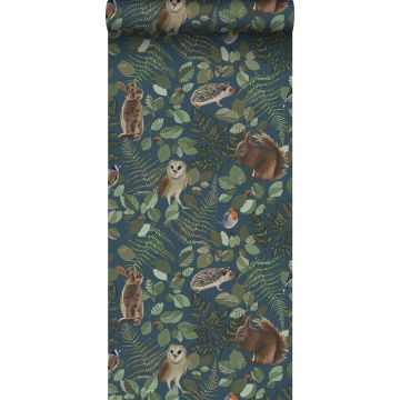 wallpaper forest animals dark blue, green and brown from ESTA home