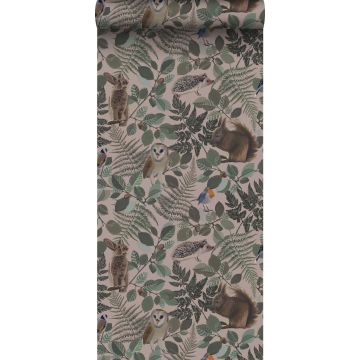 wallpaper forest animals antique pink, green and brown from ESTA home