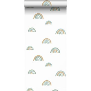 wallpaper rainbows grayed vintage blue, light blue and beige from ESTA home