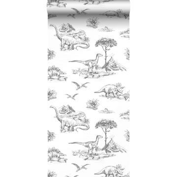 wallpaper dinosaurs black and white from ESTA home