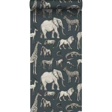wallpaper jungle animals grayed vintage blue and gray from ESTA home