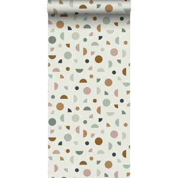 wallpaper graphic motif light beige, antique pink and mint green from ESTA home