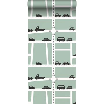 wallpaper cars mint green, black and white from ESTA home