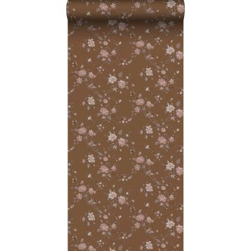 wallpaper flowers rust brown and pink from ESTA home