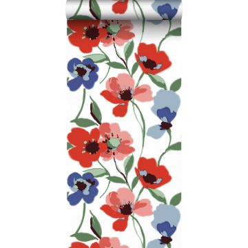 wallpaper poppies red, blue and green from ESTA home