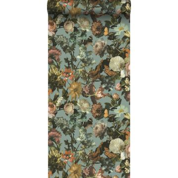 wallpaper flowers grayed vintage blue from ESTA home