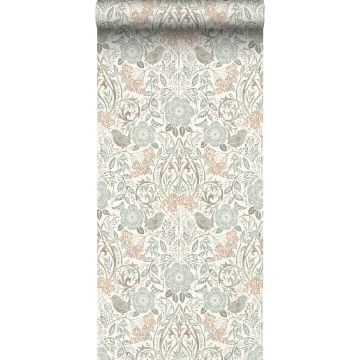 wallpaper flowers and birds grayed vintage blue, brown and soft pink from ESTA home