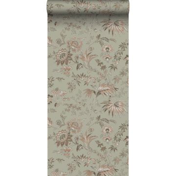 wallpaper vintage flowers grayed mint green and soft pink from ESTA home