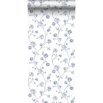 wallpaper toile de Jouy roses white and blue from ESTA home