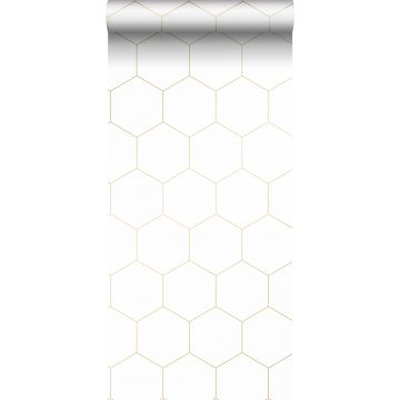 wallpaper hexagon white and gold from ESTA home