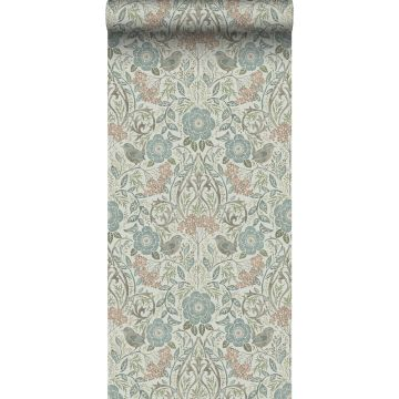 wallpaper flowers and birds brown, grayed vintage blue and soft pink from ESTA home