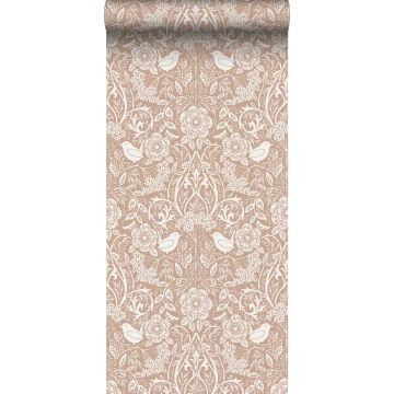 wallpaper flowers and birds nude colour and white from ESTA home