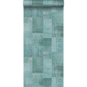 wallpaper patchwork kilim aqua green from ESTA home