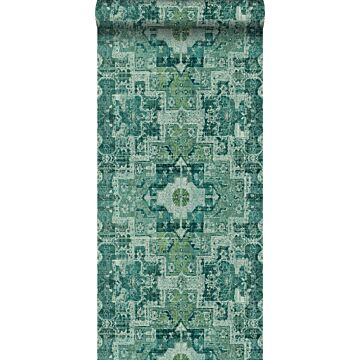 wallpaper oriental kelim patchwork carpet emerald green from ESTA home