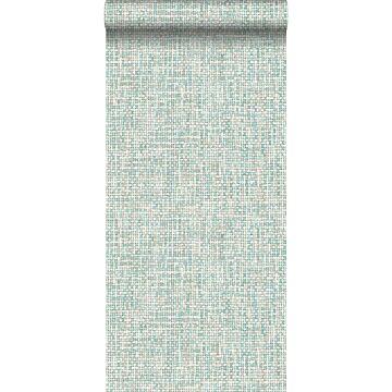 wallpaper woven linen effect mint green from ESTA home