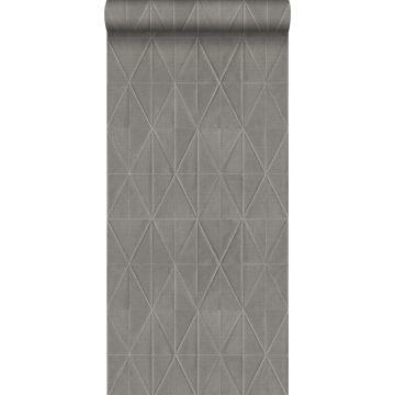 eco texture non-woven wallpaper origami motif dark gray from ESTA home