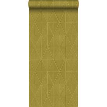 eco texture non-woven wallpaper origami motif mustard from ESTA home