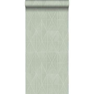 eco texture non-woven wallpaper origami motif celadon green from ESTA home