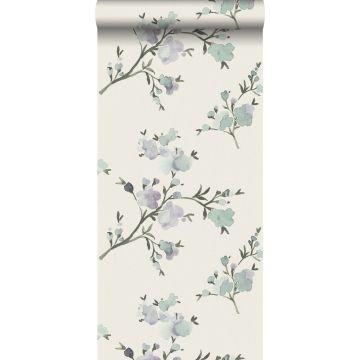 eco texture non-woven wallpaper cherry blossoms beige and lilac purple from ESTA home