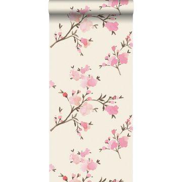 eco texture non-woven wallpaper cherry blossoms pink from ESTA home