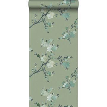 eco texture non-woven wallpaper cherry blossoms green from ESTA home