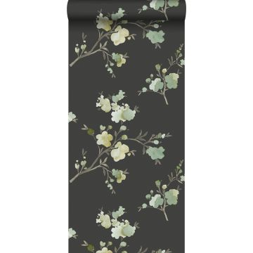 eco texture non-woven wallpaper cherry blossoms green, mustard and black from ESTA home
