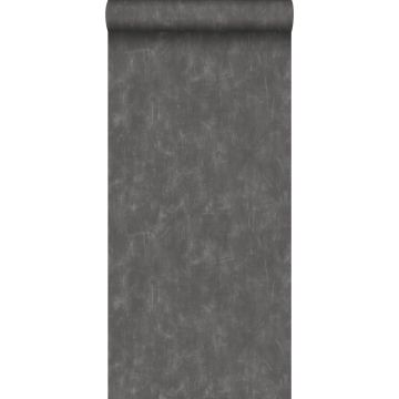 wallpaper plain with painterly effect dark gray from ESTA home
