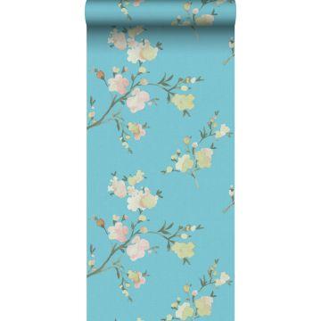 eco texture non-woven wallpaper cherry blossoms Van-Gogh-blue from ESTA home