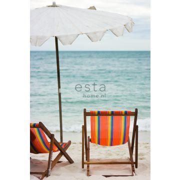 wall mural beach sea green and orange from ESTA home