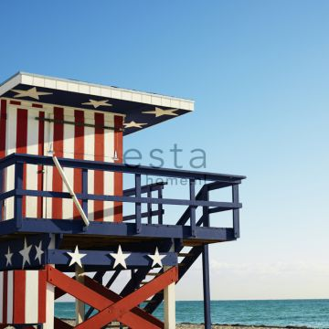 wall mural beach house red, white and blue from ESTA home
