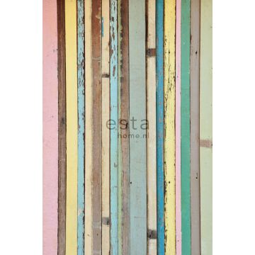wall mural painted wood light pink, yellow, blue and green from ESTA home