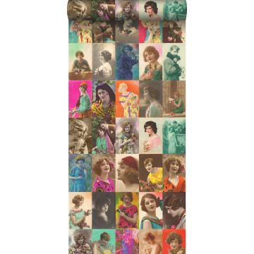 non-woven wallpaper XXL vintage postcards women's faces multi color from ESTA home