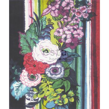wall mural flowers black, red, blue, white and green from ESTA home