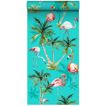 non-woven wallpaper XXL flamingos turquoise, green and pink from ESTA home