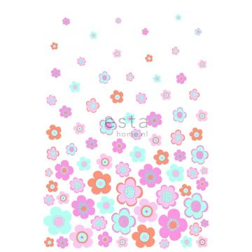 wall mural vintage flowers turquoise, pink and purple from ESTA home