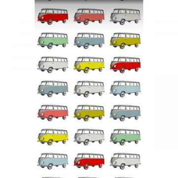 non-woven wallpaper XXL vintage volkswagen transporter vans yellow, blue, gray, red and green from ESTA home