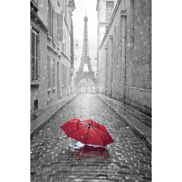 wall mural Paris black and white with red umbrella gray and red from ESTA home